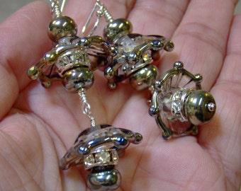 Lampwork Earrings - Artisan Lampwork Beaded Sterling Silver Filled Earrings-Art Beaded Earrings - SRAJD-Statment Earrings - Dangle earrings