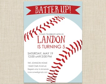 Baseball Invitation, Baseball Birthday Invitation