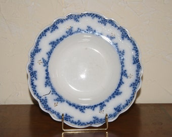 Vintage W H Grindley Blue Transferware Soup Bowl With ALDINE Pattern Made 1880s To 1900s