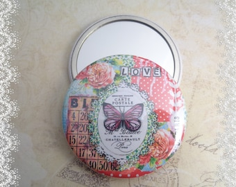 """Pocket mirror 56 mm """"Love Butterfly"""", illustrated by one of my creations"""
