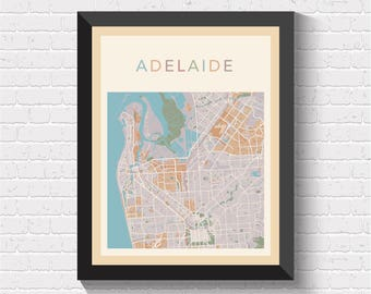 Adelaide Map, Adelaide Poster, Adelaide Print, Map of Adelaide, Adelaide Street Map, Adelaide City Map, Adelaide Road Map, Adelaide
