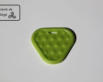 Teething ring, Green Apple triangle shape.