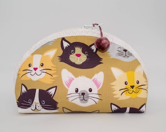 Herbie Medium - cosmetic bag / make up pouch / purse organizer - cat - crazy cat lady makeup bag