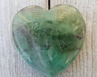Rainbow FLUORITE Heart, Green, Aqua & Purple