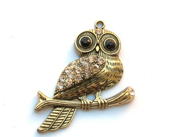 Antiqued Brass 50mm x 62mm OWL Pendant with Crystals, 1021-03