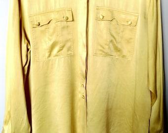 Vintage 90's silk button-up shirt/ Vintage yellow silk shirt/ 90's Italian silk blouse/ Hipster silk shirt