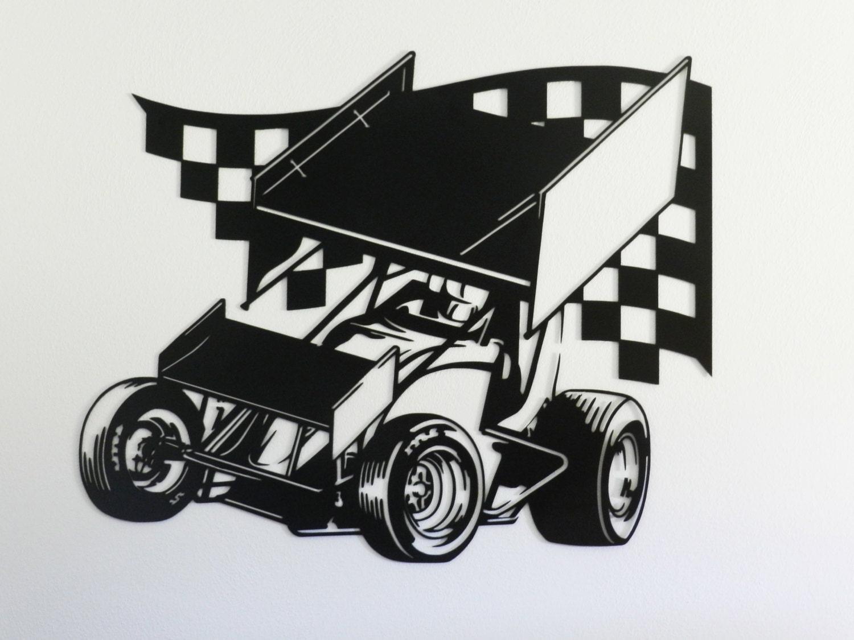 ?zoom & Sprint Car Racing Metal Wall Art