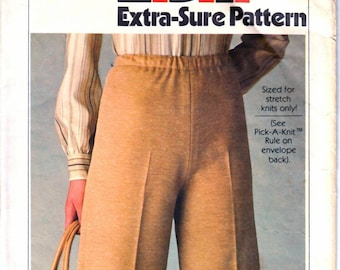 Simplicity 8185 Womans' Knit Pull On Pants Sewing Pattern Size 12, 14, 16 or 16, 18, 20 Vintage 1970's