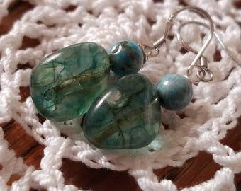 Beautiful green tourmaline and Apatite earrings
