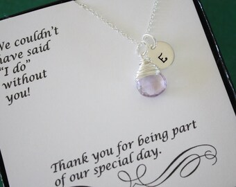 9 Bridesmaid Gift Initial Necklace, Personlized Jewelry, Bridal Party, Gemstone and Initial, Gift Set, Sterling Silver, Wedding