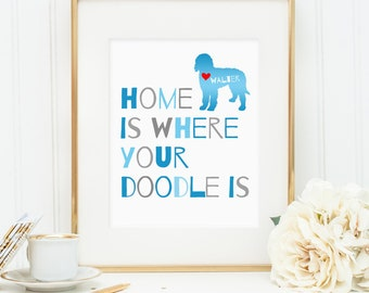 Doodle art print, personalized dog art print for your doodle, labradoodle, goldendoodle, lovely dog wall art great gift for dog owners