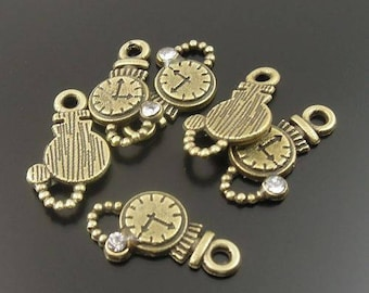 10 pendants clocks clocks with Rhinestones, bronze