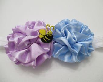 INFANT HEADBAND/ TODDLER Headband/ Flower Headband/ Stretch Headband/ Purple/Blue/White Headband/ Bumble Bee Headband/ Gift For Her