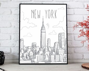 New York Art New York Wall Art Printable New York Print New York City Art  New York Wall Decor New York Illustration New York Hand Drawn