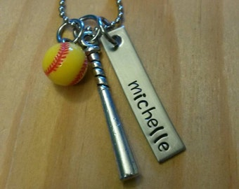 Hand Stamped Personalized Softball Necklace - Softball Gifts - Softball Gift - Girls Softball Necklace Softball Jewelry - Softball Team Gift