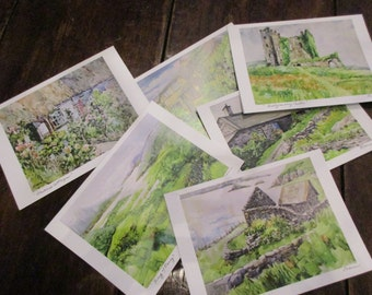 Watercolor Notecards 5x7 Printed from Original Paintings, Ring of Kerry Ireland