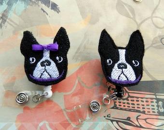 Boston Terrier Badge Reel, Medical Badge Reel, ID Badge Holder clip, Retractable, Feltie, Dog Badge Reel, Boston Terrier Feltie Badge Reel