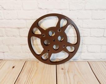 Vintage Brown Metal Industrial Film Reel