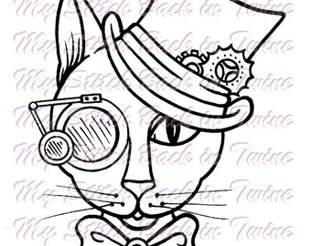Digital stamp colouring image -  Steampunk cat . jpeg / png