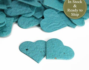 Rainforest (Dark Turquoise) Plantable Seed Paper Confetti Hearts - READY-TO-SHIP - Wedding Favors, Bridal & Baby Shower Favors, Unique Gift