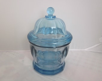 BLUE GLASS Candy / Cookie JAR With Lid