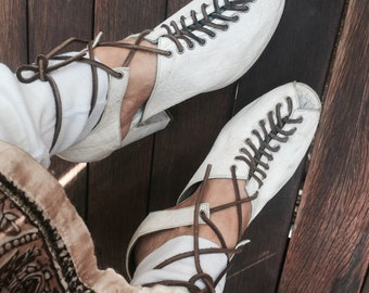 Vintage 70's platform leather gladiator shoes