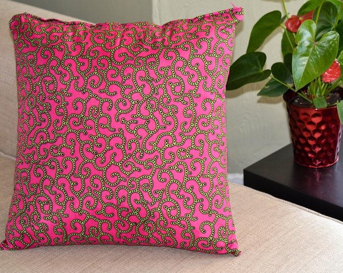 Pink Spirals // Ankara Throw Pillow Cover