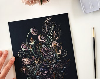 Shimmering glowing abstract floral arrangement original watercolor painting on navy paper