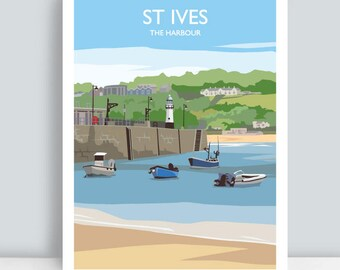 St Ives, The Harbour, Cornwall. HAND SIGNED Art Print/Travel Poster. Plus Free Postage!