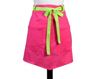 Womens Linen Retro Half Apron in Hot Pink Straight Style Skirt with Apple Green Belt Loops and Ties and Two Pockets