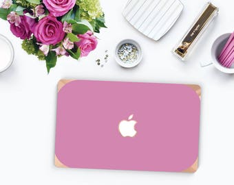 Macbook Pro 13 Case Macbook Air Case Laptop Case Macbook Case . Soft Purple with Rose Gold Chrome Edge            - Platinum Edition