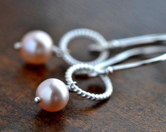 Light Pink Pearl Twisted Circle Sterling Silver Earrings - Dainty Pastel Pink Pearl Earrings, Pale Pink Freshwater Pearl Silver Earrings