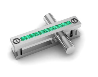 Exceptionally Unique 14k White gold cross with Emeralds Item # CR-06