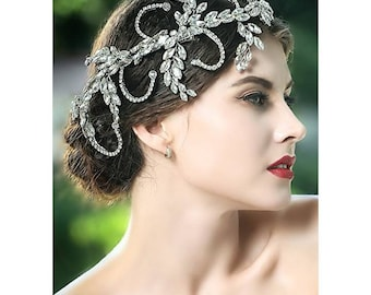 Silver Tone Rhinestone Hair Jewelry Headband Tiara Crown Hair Pin Wedding Hair Accessory Bridal Head Piece Headwear Jewelry Beautiful