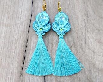 Tassel Earrings, Long Dangle Earrings, Mint  Soutache Earrings, Fringe Earrings, Mint and Turquoise, Long Earrings, Handmade Earrings