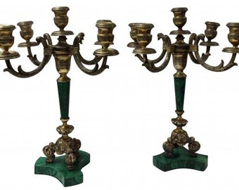 Pair of Gilt Silver & Malachite Candelabra