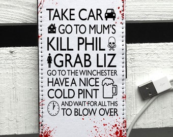 Shaun of The Dead Quote Blood Splats Leather iPhone 6 Smart phone case