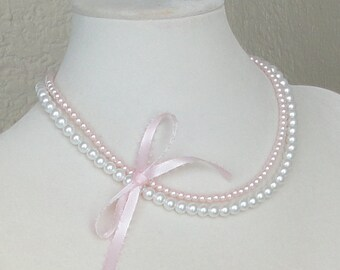 ON SALE FLOWer Girl White & Pink Two Strand Pearl BRIDAL WEDDing Necklace By DYEnamite