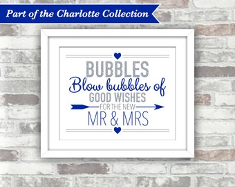 INSTANT DOWNLOAD - Charlotte Collection - Printable Wedding Bubbles Sign - 8x10 Digital File - Silver Glitter Effect Royal Blue - Mr Mrs