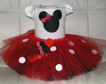 Mini Mouse Outfit, Birthday Tutu Set, Halloween Costume, Tutu and Onesie, Minnie Mouse Tutu Outfit