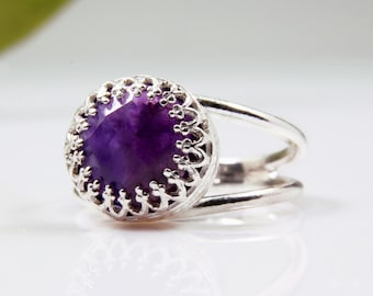 Doti Style 925 Sterling Silver Beaded Birthstone European Ring February - Amethyst