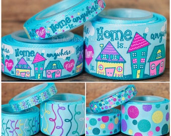 """3/8"""", 7/8"""", 1.5"""" Home Is Anywhere My Mom Is - U.S. DESIGNER - Mother's Day Inspired - High Quality Grosgrain Ribbon - 5yd Roll"""