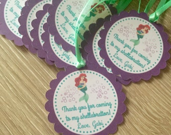 The Little Mermaid Ariel party favor tags with ribbon