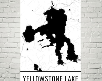 Yellowstone Lake Wyoming, Yellowstone Art, Yellowstone, Yellowstone National Park, Yellowstone Lake WY, Wyoming Map, Lake Map, Wyoming Art
