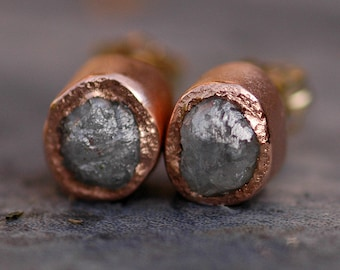 Rough Diamond and 14k Recycled Rose Gold Bezel Post Earrings- Ready to Ship Raw Uncut Diamonds