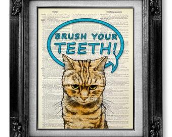 Boy Bathroom Decor Home Decor, Kid BATHROOM Wall Decor, Unique Kid GIFT, Bathroom Art Wall Quote Idea Cool CAT Artwork, Brush Your Teeth Art