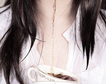 Tea Time FREE SHIPPING Surreal photo print Creepy portrait Dark art Tea pouring out of girls mouth Teacup White Fountain Strange wall decor