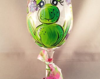 Happy Frog Hand Painted Wine Glass