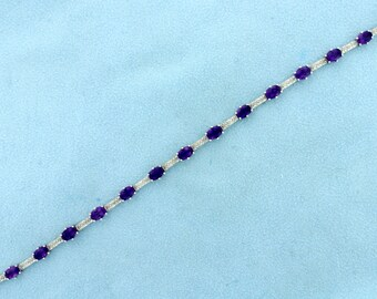 Amethyst and Diamond Bracelet in White Gold