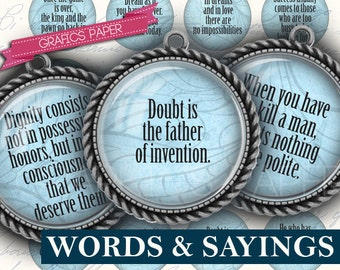 """Digital Collage Sheet, Inspirational Words and Sayings 1.5"""", 1.25"""", 30mm, 1 inch - circle Images Glass & Resin, Images for pendant  td90"""